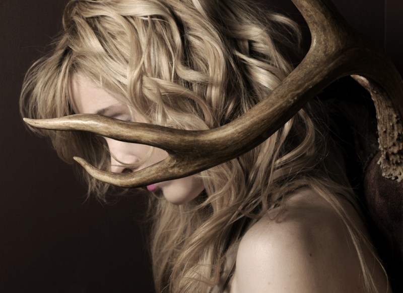 Model with antlers