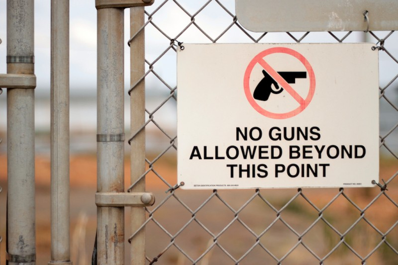 No guns allowed beyond this point
