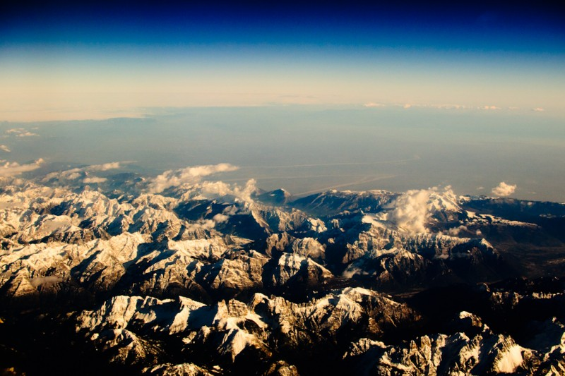 Aerial view of snow-capped Italian Alps