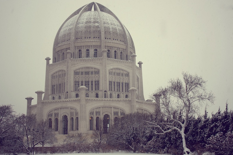 Baha'i House of Worship Wilmette snow
