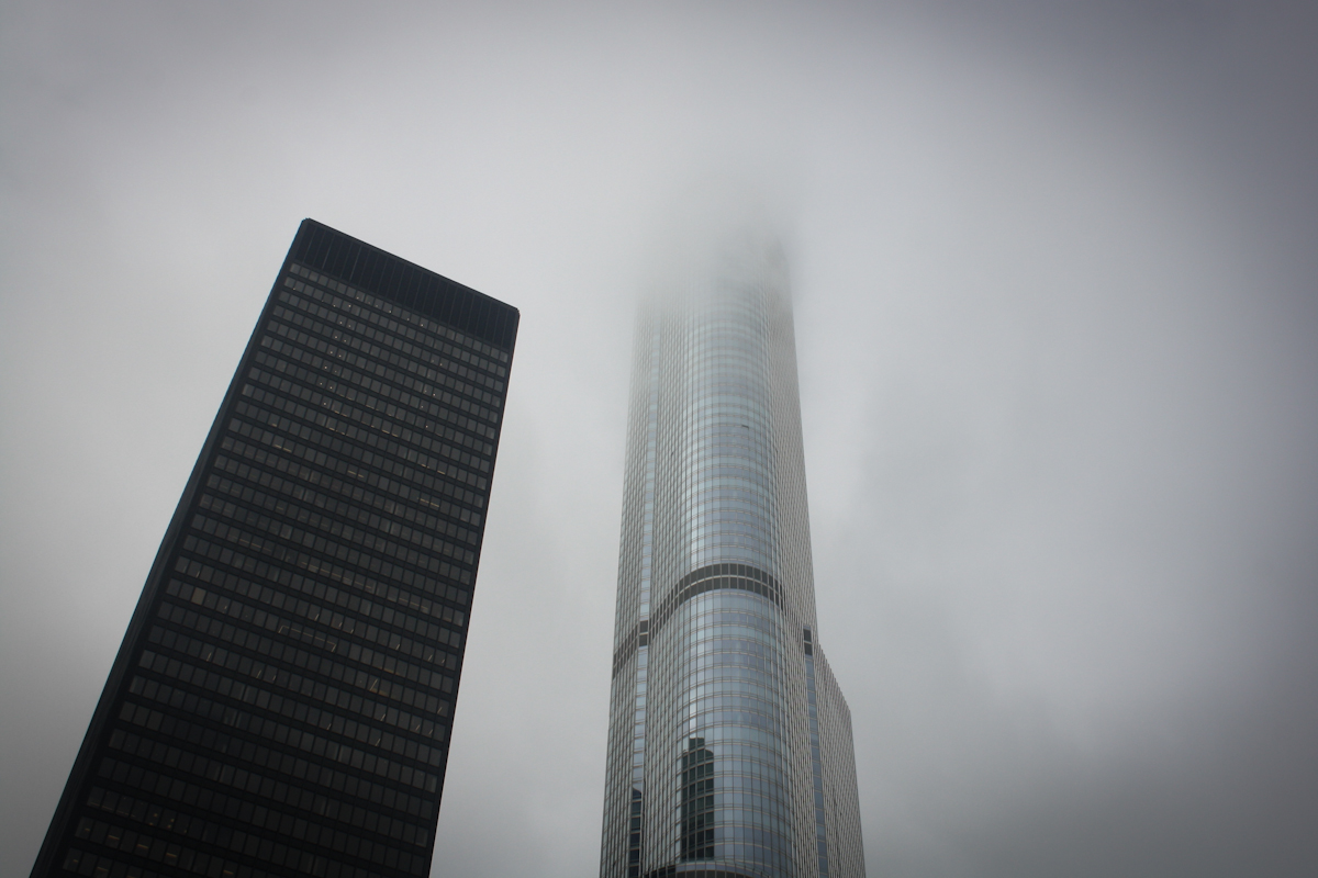 Trump Tower Chicago on Foggy Day