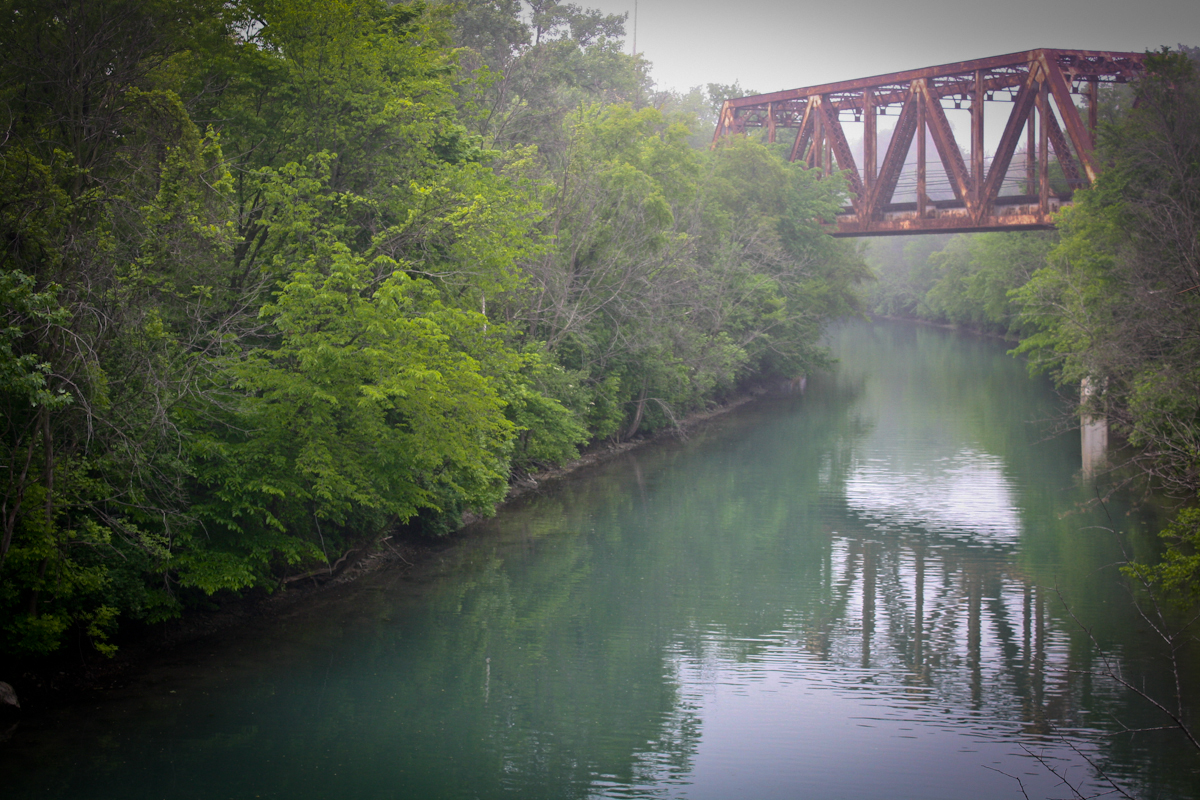 railroad bridge canal fog evanston